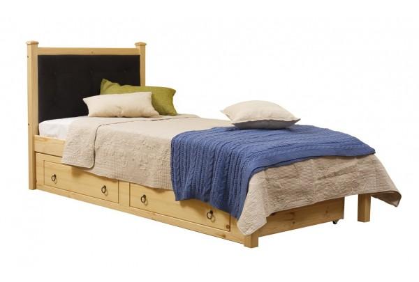 """Кровать """"Дания-1/1"""" мягкая, с ящиками (бесцветный лак) • Детские кровати"""