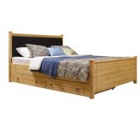 """Кровать """"Дания-1"""" мягкая, с ящиками (бесцветный лак)"""