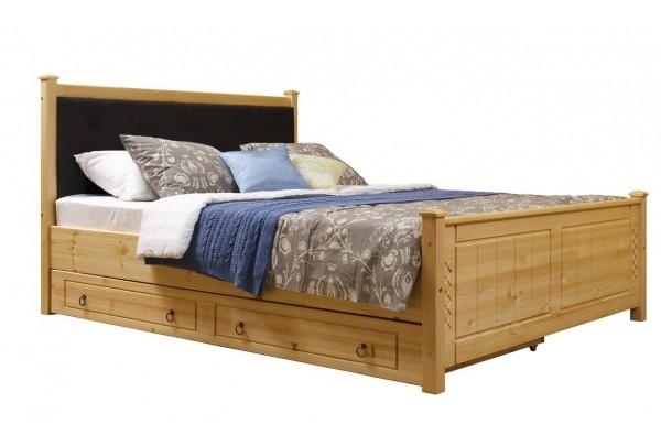 """Кровать """"Дания-1"""" мягкая, с ящиками (бесцветный лак) • Кровати"""