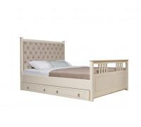 """Кровать """"Дания-2"""" мягкая, с ящиками (бесцветный лак)"""