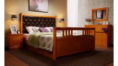 """Кровать """"Дания-2"""" мягкая, с ящиками (бесцветный лак) • Кровати"""
