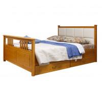 """Кровать """"Дания-3"""" мягкая, с ящиками (бесцветный лак)"""