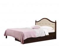 """Кровать """"Кая-1"""" мягкая, с ящиками (бесцветный лак)"""