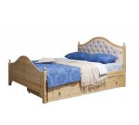 """Кровать """"Кая-2"""" мягкая, с ящиками (бесцветный лак)"""