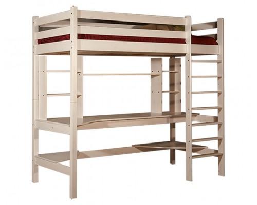 Кровать-чердак Классик № 3, с рабочей зоной, 900х1900 (медовый)